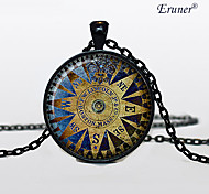 Euner® Vintage Compass Pendant Wind Rose Necklace