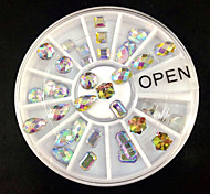 36PCS Mix Shape AB Rhinestone Wheel Nail Art Decoration
