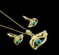 18K Real Gold Plated Evil Eye Necklace+Earrings Jewelry Set