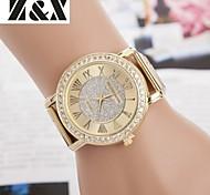 Damenmode Diamant Quarz Analog Stahlband Uhr