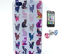 Katze-Muster-TPU Hülle mit Anti-Staub-Stecker und flim für iphone 4 / 4s