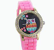 Women's European Style Fashion High Quality Digital Owl Rhinestone Silicone Watch