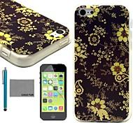 coco fun® fiore giallo di viti modello tpu caso della copertura posteriore con la protezione dello schermo e lo stilo per iPhone 5c