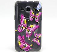 Four Pink Butterfly Pattern TPU Relief Back Cover Case for Samsung Galaxy J1