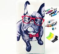 vidros padrão cão com stylus, plugue anti-poeira e ficar TPU caso suave para samsung galaxy note 4