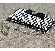 Grid Metal Hand Bag Card Wallet PU Leather Cover with Stand for iPhone 6 Case