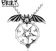 Stainless Steel Vintage Bat Pentacle Pendant For Man