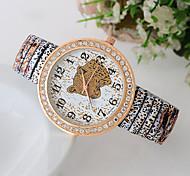 Women's  Korean Style Fashion Diamonds Leopard Printing Quartz Analog Wristwatch