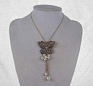 Fashion Alloy/Imitation Pearl/Rhinestone Necklace ButterflyStyle Pendant Necklaces Daily/Casual