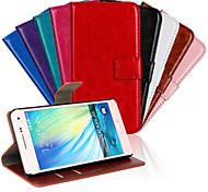 grano de cuero de caballo de la PU de la cubierta de cuerpo completo con soporte y de piel para Samsung Galaxy a5
