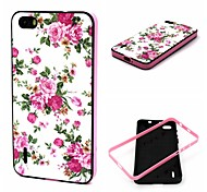 2-in-1 Rose Peony Pattern TPU Back Cover with PC Bumper Shockproof Soft Case for Huawei Honor 6