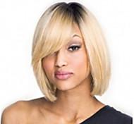 sin tapa mezcla colores (gris&rubia) explosión lado corto pelucas sintéticas del pelo recto