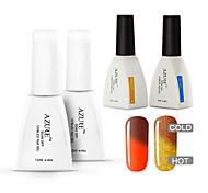 Azure  4 Pcs/Lot Nail Polish Temperature Changing Color Soak Off Nail Art UV Gel Polish Long-lasting (#41+#45+BASE+TOP)