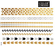 1Pc Gold And Silver Long Bracelet Tattoo Stickers 23x15.5CM