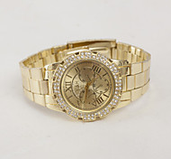 Herrenuhren rom digitales Quarz swiss goldene Uhr Diamantlegierungsstreifen