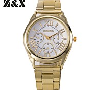 Relógio Casual Banda Prata Dourado