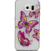 Pink Butterfly Pattern TPU Relief Back Cover Case for Samsung Galaxy S6 Edge