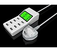 huit ports usb adaptateur chargeur de puissance YC-cda6 pour iPhone / iPad / samsung / HTC / blanc LG- (bs fiche)