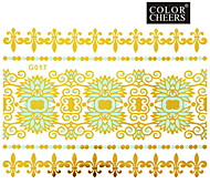 1Pc Gold and Blue Long Bracelet Tattoo Sticker 15x11.5CM