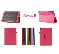 """de cuero de la PU de los colores sólidos casos de cuerpo completo casos con soporte 8.9 """"de google nexus 9 (colores surtidos)"""