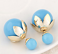 European Style Fashion Metal Lotus Leaf Candy Colored Ball Double Side Earrings