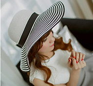 Women Vintage/Casual Summer Black and White Straw Straw Hat