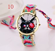 2015 New Gold Watch New Arrival Cat  Designer Geneva Hand-Woven Wristwatch Handmade Braided Bracelet