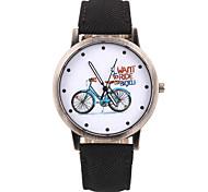 Unique Bike Pattern PU Leather Band Wristwatch(Black)(1Pcs)