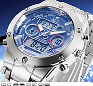 Fashion Military Mens Sport Wrist Quartz Watches Dual Time Zone Date Day LCD Display Waterproof Alarm Chronograph