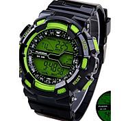 Men Silicone Strap Digital Sport Watches Chronograph/Calendar/Backlight/Waterproof Green