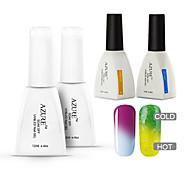 couche 4 pièces / changer beaucoup la couleur tremper-off gel uv ongles supérieure et la base de vernis d'azur pour la beauté des ongles