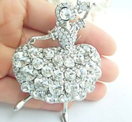 Women Accessories Silver-tone Clear Rhinestone Crystal Brooch Art Deco Crystal Dancing Girl Brooch Women Jewelry