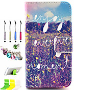 Symbol Pattern PU All Inclusive With Slot Case and Stylus Pen Dust Plug Bracket Assembly for iPhone 4/4S
