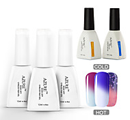 azure 5 pcs / color monte mudar com a temperatura gel diy mergulhe-off unha polonês (# 15 + 21 + # # 26 + base + top)