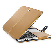 "Case for MacBook Pro 13.3"" Business Solid Color PU Leather Material Golden Protective PU Leather Flip Open Case"