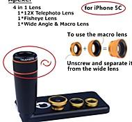 Apexel 4 nel kit di 1 lente 12x teleobiettivo nero lente + fisheye lens + grandangolare + macro obiettivo della fotocamera con custodia