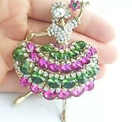 Women Accessories Gold-tone Multicolor Rhinestone Crystal Brooch Art Deco Crystal Dancing Girl Brooch Women Jewelry