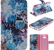 Blue Beautiful Design PU Leather Stand Case with Card Slot for HTC One M8