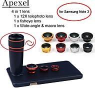 Apexel 4 in 1 12X Black Telescope Lens+Fisheye Lens+Wide-angle+Macro Lens with Case for Samsung Galaxy Note 3