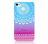 Gradient Lace Flowers  Pattern TPU Soft Back Cover Case for iPhone 4/4S