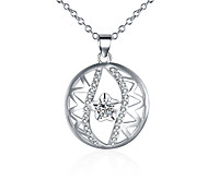 Fashion Style 925 Sterling Silver Jewelry Round Star with Zircon Pendant Necklace for Women
