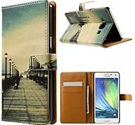For Samsung Galaxy Case Card Holder / with Stand / Flip / Pattern / Magnetic Case Full Body Case City View PU Leather Samsung A3