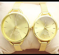 Tower Fashion Couple Watch Golden Case Alloy Band