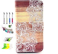 Printing Pattern PU All Inclusive With Slot Case and Stylus Pen Dust Plug Bracket Assembly for iPhone 4/4S