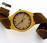Men's Vogue Wooden Watch Bamboo Wood Handmade Real Cow Leather Strap Luminous Retro Wrist Watch