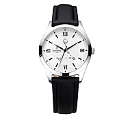 Men's  Water-Resistant  with Man-made Crystal White Dial Leather Band Quartz Analog  Fashion Watch of Pisces