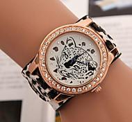 caso mostrador redondo relógio de couro relógio marca de moda quartzo das mulheres (mais cores disponíveis)