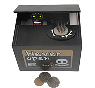 "Creative ""Never Open"" Ghost Bank Skull Style Coin Bank Money Saving Box Black"