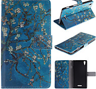 Apricot Blossom Design PU Leather Stand Case with Card Slot for Sony Xperia T3