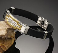 18 K Gold Set Auger Titanium Steel Buckles Leather Bracelet